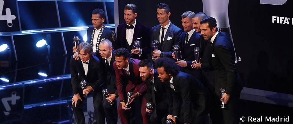 Cristiano Ronaldo, Ramos, Marcelo, Modric y Kroos, en el Once Mundial de FIFA FIFPro 2017