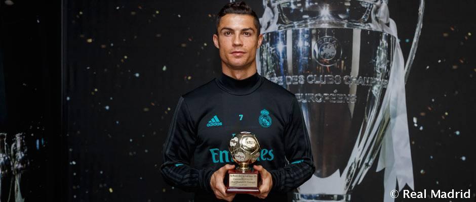 Cristiano Ronaldo recibió el trofeo de Mejor Goleador del Mundo en 2016 para la IFFHS
