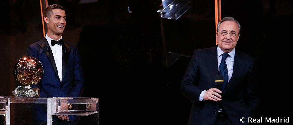 """Florentino Pérez: """"El quinto Balón de Oro de Cristiano es un honor para el madridismo"""""""