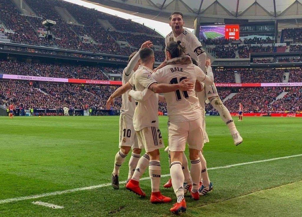 Los jugadores del Real Madrid celebrando un gol en el Wanda Metropolitano