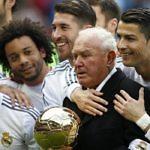 El delegado del Real Madrid, Agustín Herrerín, junto a jugadores como Cristiano Ronaldo, Marcelo, Sergio Ramos o Gareth Bale