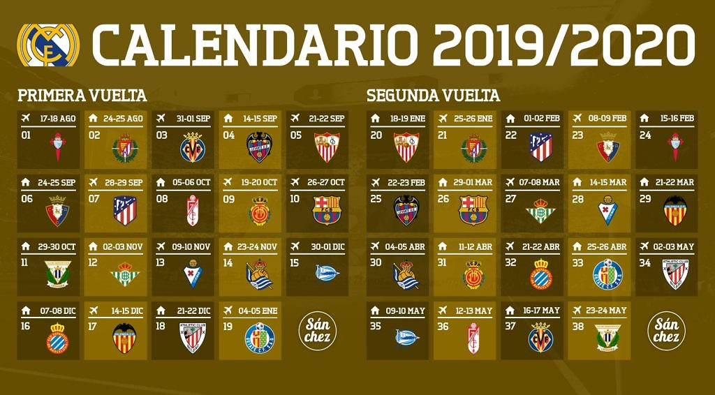 Calendario Del Real.Asi Es El Calendario Del Real Madrid Para La Temporada 2019