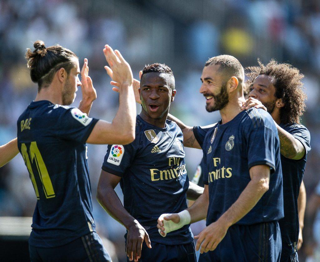 Celebracion Real Madrid Benzema Bale Marcelo Vinicius Celta Balaidos