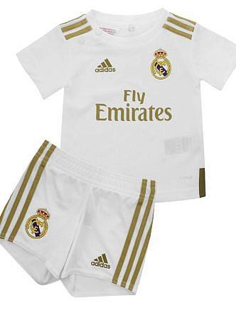 Conjunto 1ª Equipación del Real Madrid. Temporada 2019-2020. Para bebés. Licencia LFP