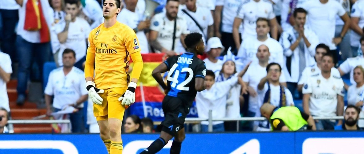 Why does Courtois concede between the legs and how does he compare to a modern goalkeeper?