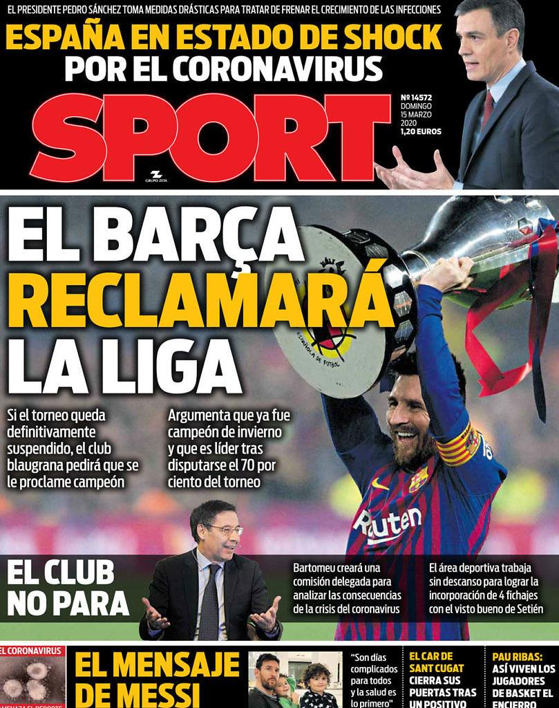 portada sport coronavirus fc barcelona campeon liga