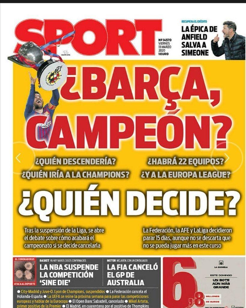 portada sport coronavirus liga fc barcelona