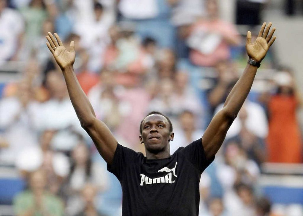 usain bolt estadio santiago bernabeu real madrid